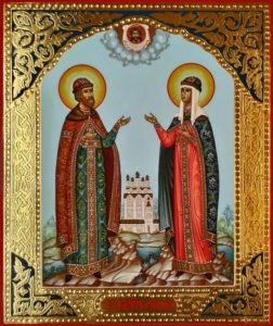 Петр и Феврония Муромские, Святые Чудотворцы. Рукописная икона.