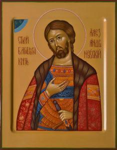 Александр Невский, святой великий князь. Рукописная икона.