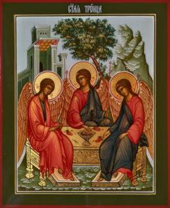 Святая Троица. Рукописная икона.