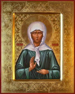 Святая блаженная Матрона Московская. Рукописная икона.