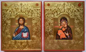 """Венчальная пара. Образ Спасителя. Образ Пресвятой Божией Матери """"Владимирская"""". Рукописные иконы."""