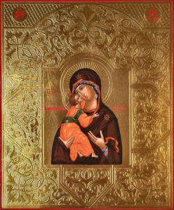 Владимирская Икона Пресвятой Божией Матери. Рукописная икона. 17,5х21см.