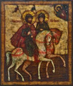 Борис и Глеб, Святые равноапостольные князья-страстотерпцы. Рукописная икона 26х30см.