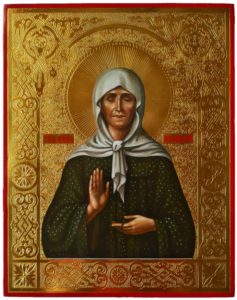 Матрона Московская, святая блаженная, Чудотворица. Рукописная икона 22х28см.