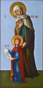Рукописная икона Святой Праведной Анны и дочери ее, Пресвятой Богородицы