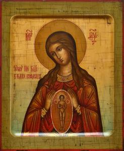 Помощница в родах. Рукописная икона.