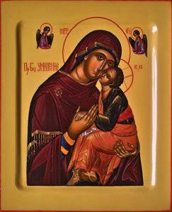 Умиление. Рукописная икона Пресвятой Богородицы.