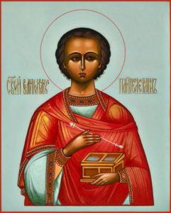 Пантелеймон Целитель. Рукописная икона в наличии.