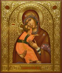 Рукописная икона Владимирской Богородицы