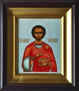 Пантелеимон (Пантелеймон) Целитель, святой великомученик. Рукописная икона 13х16см в киоте.