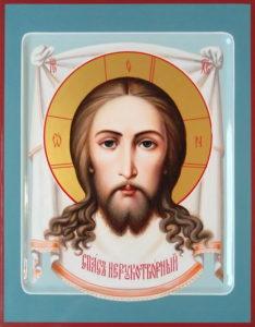 Спас Нерукотворный (Спаситель на убрусе). Рукописная икона 22х28см.