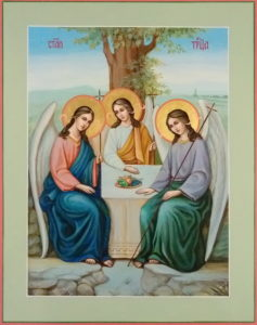 Троица Пресвятая. Рукописная икона. 22х28см.