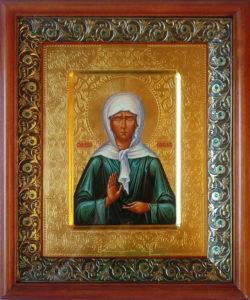 Матрона Московская, святая блаженная, Чудотворица. Рукописная икона 22х28см в киоте.